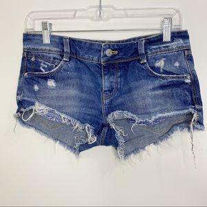 Zara Trafaluc Raw Hem Cut Off Denim Shorts Sz 2
